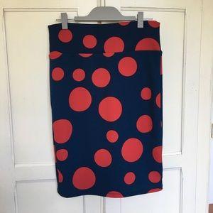 Lularoe polka dot Cassie skirt LIKE NEW large